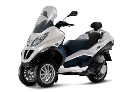 The Piaggio MP3 Hybrid uses a parallel hybrid system.