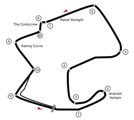 The 2.238 mile Laguna Seca course features 11 turns and several changes in elevation.