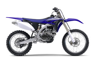 The 2010 Yamaha YZ250F's body design has a sharp, horizontal look.