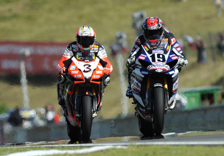 Max Biaggi (left) and Ben Spies each claimed a victory at Brno.