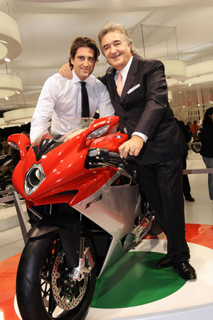 Claudio Castiglioni (right) and his son Giovanni Castiglioni are back in charge of MV Agusta.