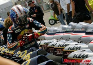 Jacob Gagne gets prepared before the U.S. Rookies Cup race at Laguna Seca.