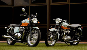 Triumph designed the anniversary edition Bonneville (left) after the 1959 original (right).