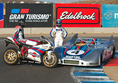 The Martini-Ducati 1098S beside the Martini Racing Porsche 908/3.