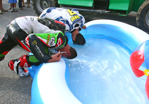 Josh Herrin and Jamie Hacking found a good way to cool off at VIR.