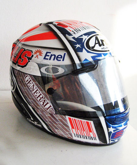 Nicky Hayden will wear this specially designed helmet for the 2010 Indianapolis Grand Prix.