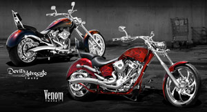 Big Bear Choppers' Two-Up Devil's Advocate and Venom run on S&S 100 SMOOTH engines.