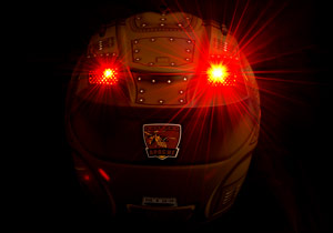Integrated rechargeable LED lights in the exhaust vents can be set to constant on or flashing modes.