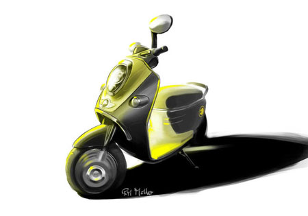 The MINI E Scooter features several MINI design cues such as the chrome accents and oval mirrors