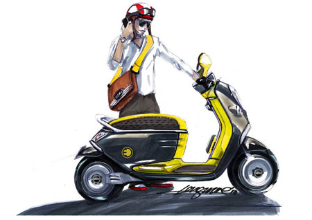 Note the yellow MINI E symbol on the side of the scooter.
