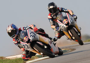 Jake Gagne (left) and Hayden Gillim will enter the 2009 Red Bull MotoGP Rookies Cup.