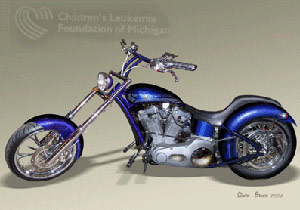 The raffle prize is a custom chopper whose designs were based on drawings made by children with leukemia.