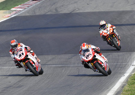 (From left) Ducati's Noriyuki Haga, and Michel Fabrizio and Aprilia's Max Biaggi helped their two manufacturers ensure an all-Italian presence on the Imola podium.