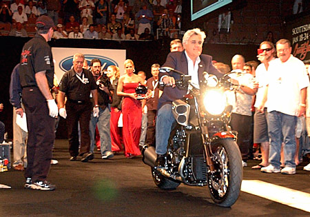Jay Leno rides his custom V-Max onto the Barrett-Jackson auction stage.