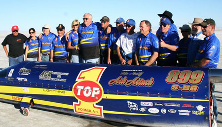 The Top 1 Oil Ack Attack streamliner set a new land speed record with a two-way average time of 376.363 mph in September.