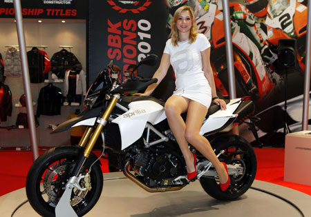 The Aprilia Dorsoduro 1200, shown here at INTERMOT, will be at EICMA.