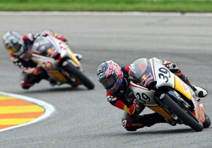 Jacob Gagne stayed close behind Luis Salom for most of the race before a high-side on lap 11.