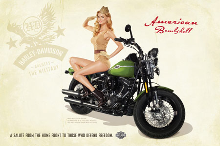 "Marissa Miller will personally deliver the winning motorcycle in the ""Harley Salutes the Military Contest""."