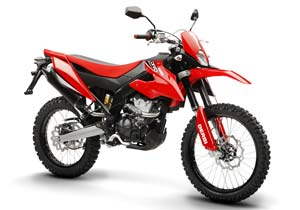 The Senda DRD125 4S is built on a frame from Derbi's Terra dual-sport bike.