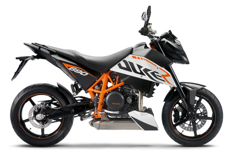 KTM claims the Duke 690R's engine is the world's most powerful single-cylinder power plant.