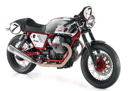 The Moto Guzzi V7 Clubman Racer's red frame really stands out.