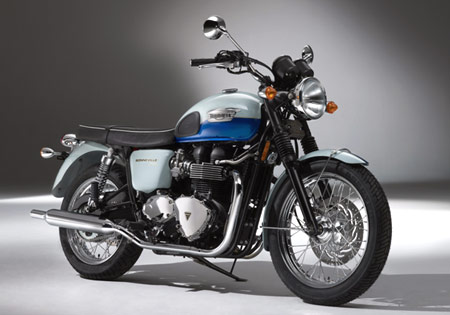 The special edition Triumph Bonneville Sixty has the chromed headlight first introduced in the 1960 Bonneville T120.