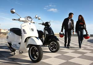 The new Vespa site highlights the brand's iconic appeal and practicality.