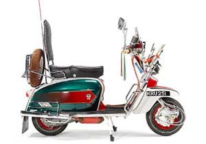 "The 'Jimmy Cooper' Lambretta's license plate was originally ""KRU251F"". The 'F', indicating model year 1967 was removed because the film is set earlier in the decade."