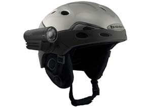 VholdR's helmet-mounted camera records video from the rider's perspective.