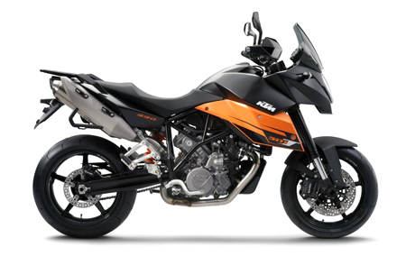 The KTM 990 SMT and the up-spec R version join the 690 SMC in KTM North America's supermoto line.