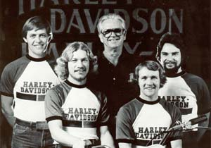 Harley-Davidson's 1981 Dirt Track team included (left to right) Bill Werner, Jay Springsteen, Dick O'Brien, Randy Goss and Brent Thompson. Photo copyright H-D.