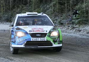 Icy conditions provided a challenge for Valentino Rossi in the Wales Rally GB.
