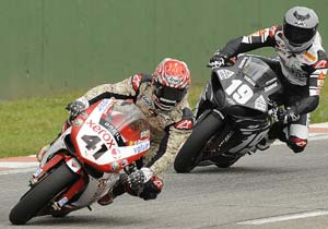 Noriyuki Haga (left) and Ben Spies were among the leaders in the final day of testing at Kyalami.