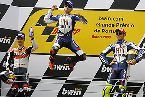 Lorenzo celebrates his Portuguese GP victory