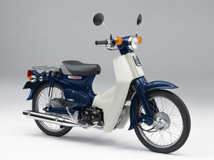 A 2007 Honda Super Cub 50 Standard retains many of the elements from its 1958 ancestor.