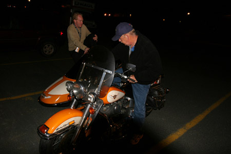 Bob (ALS patient) getting on the bike at St. Peter's parish in mount pearl, N.L.